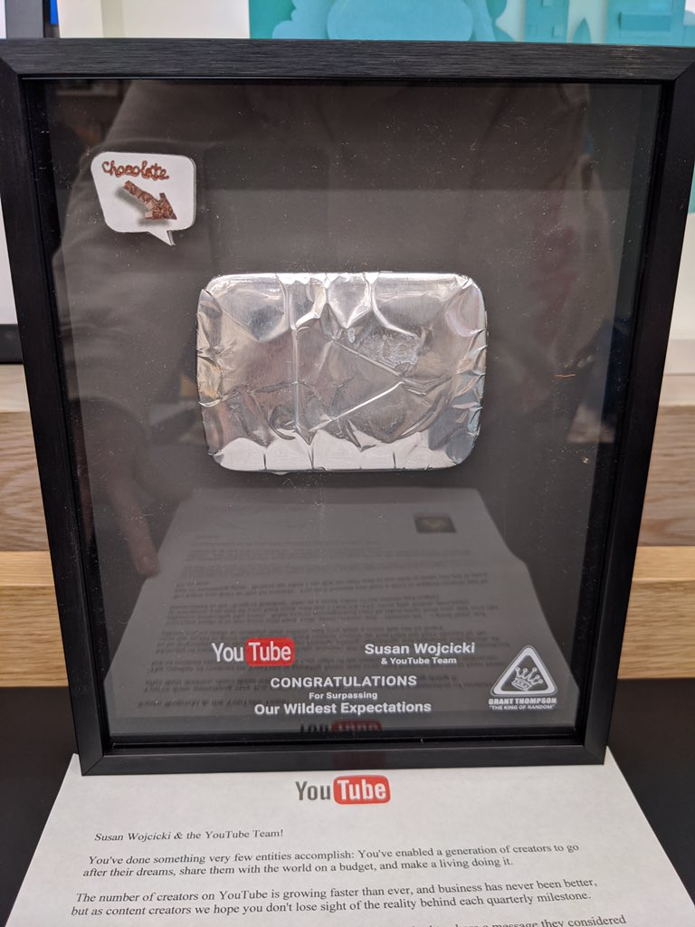 As I was cleaning out my office, I came across this creative chocolate play button Grant @thekingofrandom  sent years ago. His words meant a lot then, and they mean even more now. Thank you for hours of entertainment and all of your kindness.  We miss you. #MakeStuffYoureProudOf