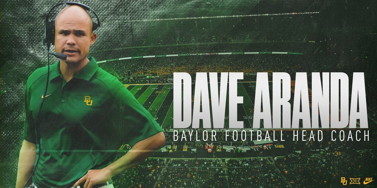 Please welcome new Baylor Football head coach 𝗗𝗮𝘃𝗲 𝗔𝗿𝗮𝗻𝗱𝗮 » baylorbea.rs/ArandaHired #SicEm