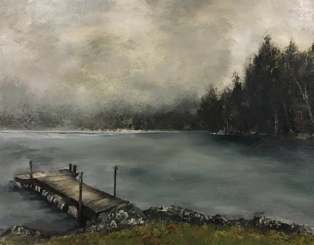 It's a foggy cold day here in upstate NY  11x14 oil on panel #oilsketch #oilpainting  #mybackyard