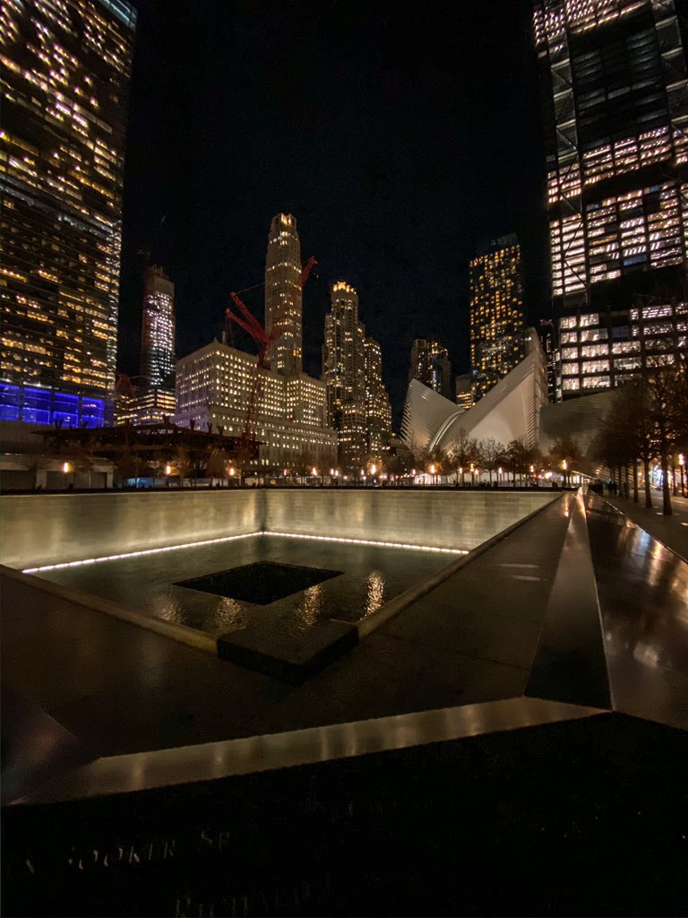 Couldn't come this far so spontaneously and not pay a night time vigil out of respect. This place never fails to stun me to the core for what it symbolises in history. #911Memorial #GroundZero #September11 @Sept11Memorial – at National September 11 Memorial & Museum