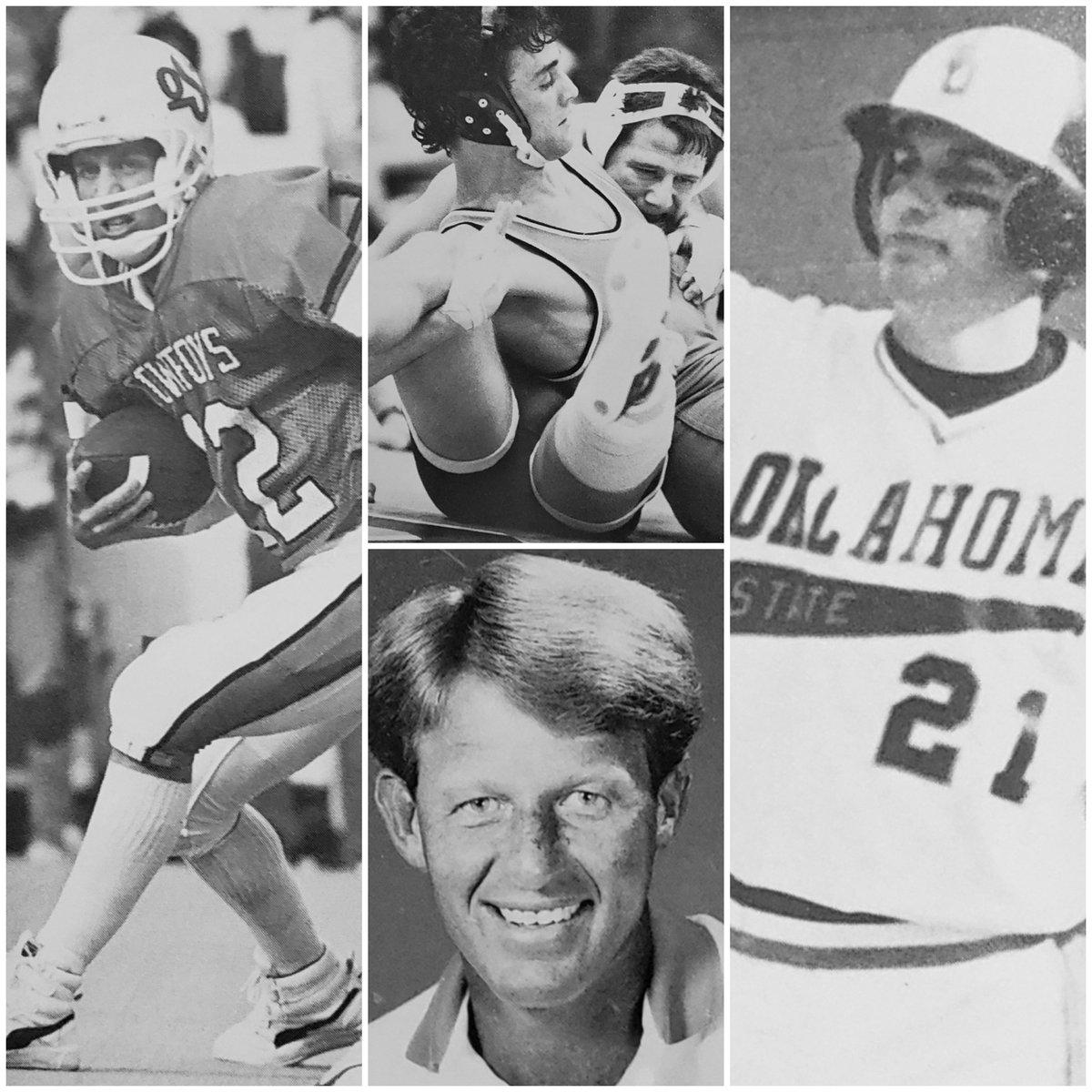 A poster on our message board sent me this today pulled from his 1987 yearbook. Mike Gundy, John Smith, Robin Ventura, and Mike Holder. #okstate <br>http://pic.twitter.com/zoxUS1MvYi