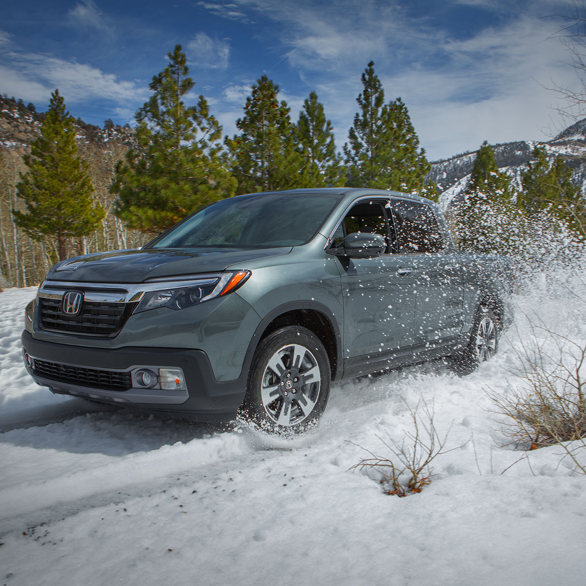 Take on the tough winters with an even tougher pickup; the #HondaRidgeline with available AWD lets you enjoy that winter scenery without worry.