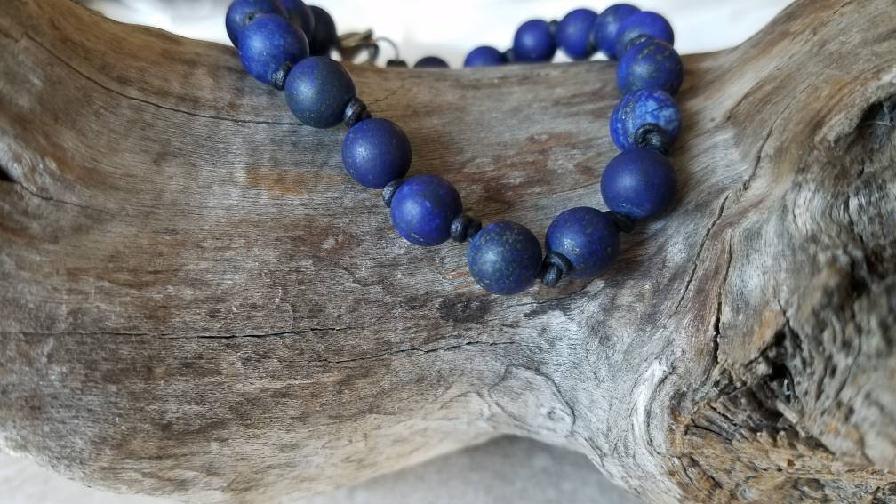 Lapis Lazuli is an ancient, classic gemstone, the matte finish gives it modern spin don't you think?  Lapis Lazuli and Knotted Leather Bracelet #limitededition #artisanjewelry by #kdmens on #etsy #miami #artist in #midtownmiami #wynwood #designdistrict  https://etsy.me/2tpvgBipic.twitter.com/zRs6h1tD3S