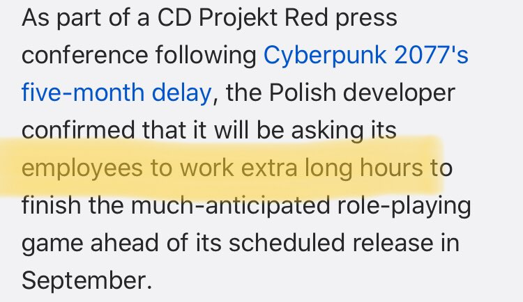 "Everyone that is like:  ""Oh nice the Cyberpunk devs have more time to make a better game without crunch""  Let this be absolutely clear:   https://www. gamespot.com/articles/cyber punk-2077-dev-team-will-work-extra-long-hours/1100-6472839/   … <br>http://pic.twitter.com/0Wx89ENR0h"