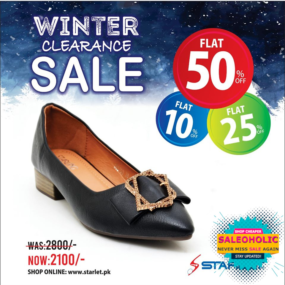 """""""GREAT NEWS!!! Starlet - Winter Clearance Sale is ON... Get Flat 50% 25% 10% Off discount on entire Stock so Hurry UP to Choose your Favorite Shoes & Visit Nearest Outlet or Order online.."""" #starletshoes #saleoholic #saleoholicdiscount #saloholicupdate #summersale #shoppinglover"""