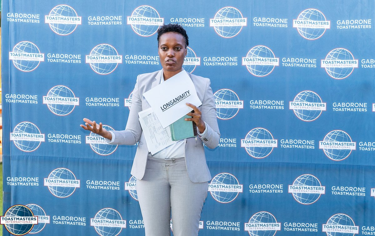 An awesome job done by our Grammarian for the day, Matshidiso Kimwaga, in expanding our vocabulary at our meeting on Tuesday.   Longanimity: a disposition to bear injuries patiently, to persevere or to be long-suffering.   #GaboroneToastmasters #LetsGrowTogether #WordOfTheDay pic.twitter.com/YSCi2ay4mu