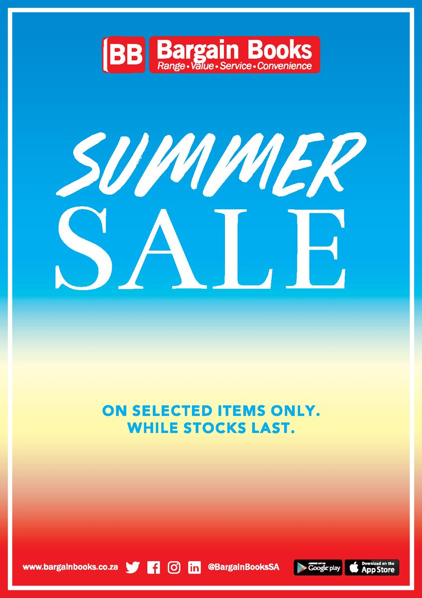 Pop down to your nearest @BargainBooksSA store to check out our Summer Sale! Find massive discounts on a wide variety of products - while stocks last!  #BargainBooksSA #SummerSale