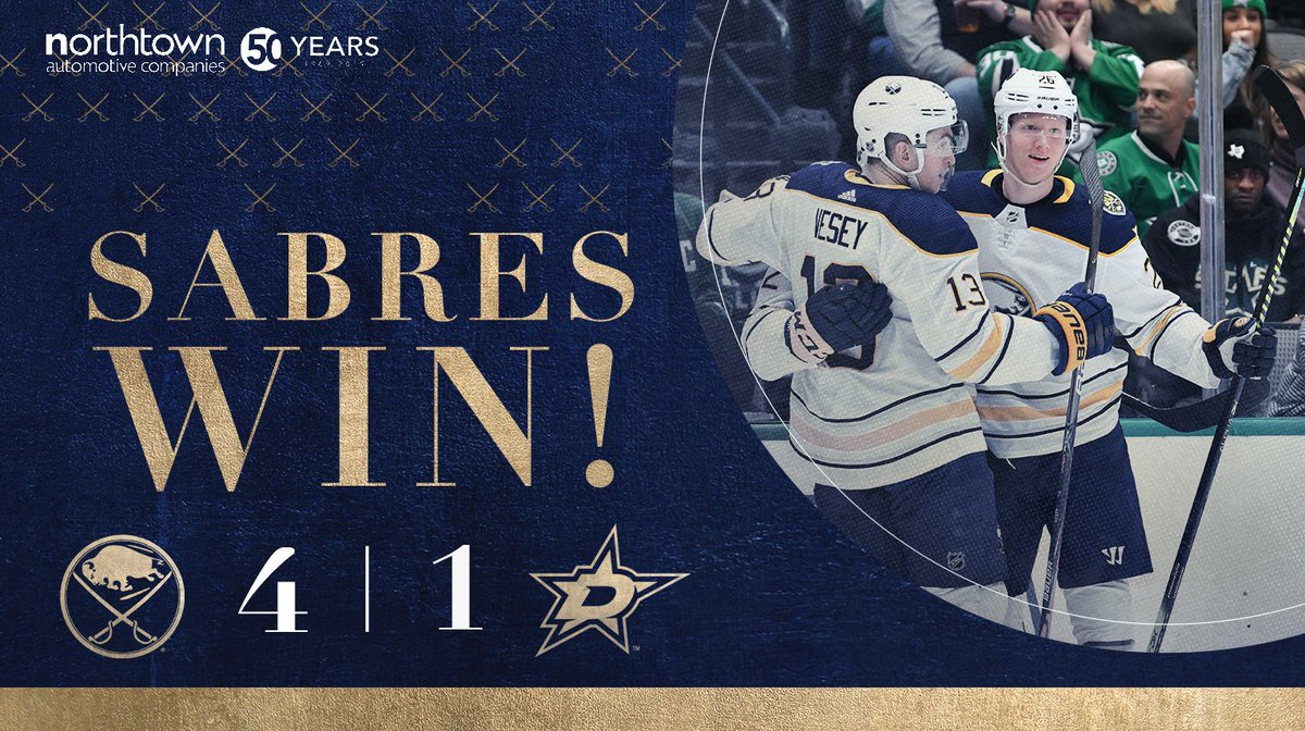We beat Dallas!!!!   #Sabres50  <br>http://pic.twitter.com/y4p6lyBgq4