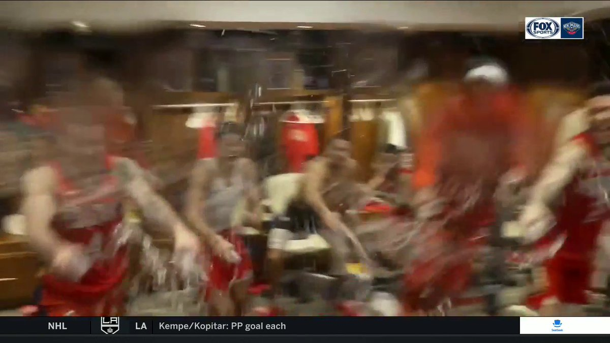 How do the @PelicansNBA celebrate a big overtime win? Like this: