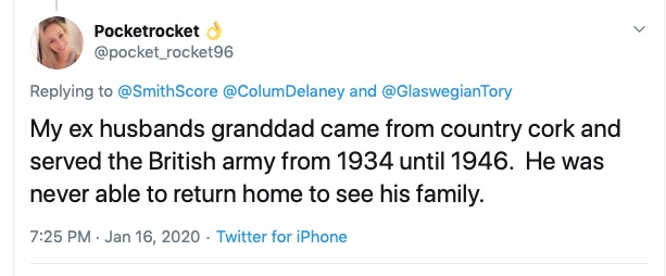 That's nothing! My ex husband's ex wife's faither-in-law's grandad's widow's uncle's wife's brother's son caught a rainbow trout in the Somme once so he did . . .  #AyrshireLass #LaughingStockOfTheWorld <br>http://pic.twitter.com/oAsoJ9FyDq