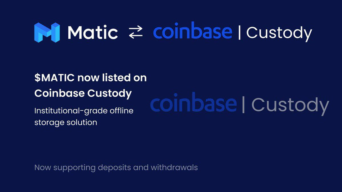 .@CoinbaseCustody now supports deposits and withdrawals for @maticnetwork $MATIC.  https://t.co/bC2ZnboQ7c https://t.co/PhoTq8h2kA 💧