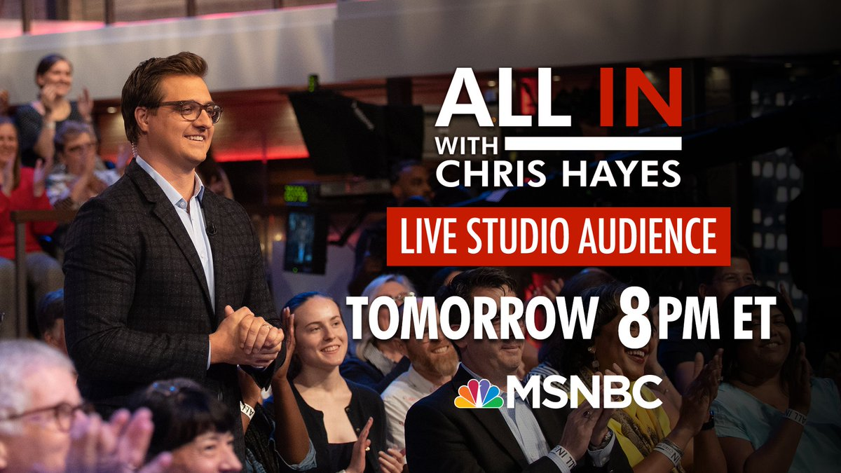 Hey #inners! Tune in at 8pm ET tomorrow to see a special episode of @AllInWithChris with a live studio audience.