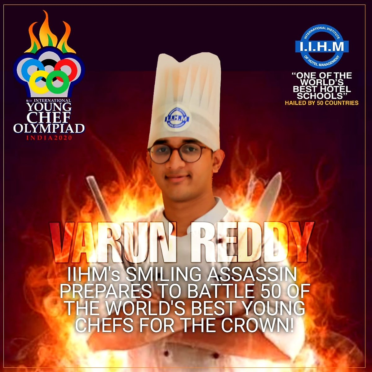 @ycolympiad @subornobose @IIHMHOTELSCHOOL's smiling assassin prepares for battle Varun Reddy,Our Culinary prodigy,here to dominate the Global kitchen with full power  days until he fights his way to the golden toque of victory #IIHMBest3Years #battleforthebest #chefslifepic.twitter.com/ik8gBmv5et