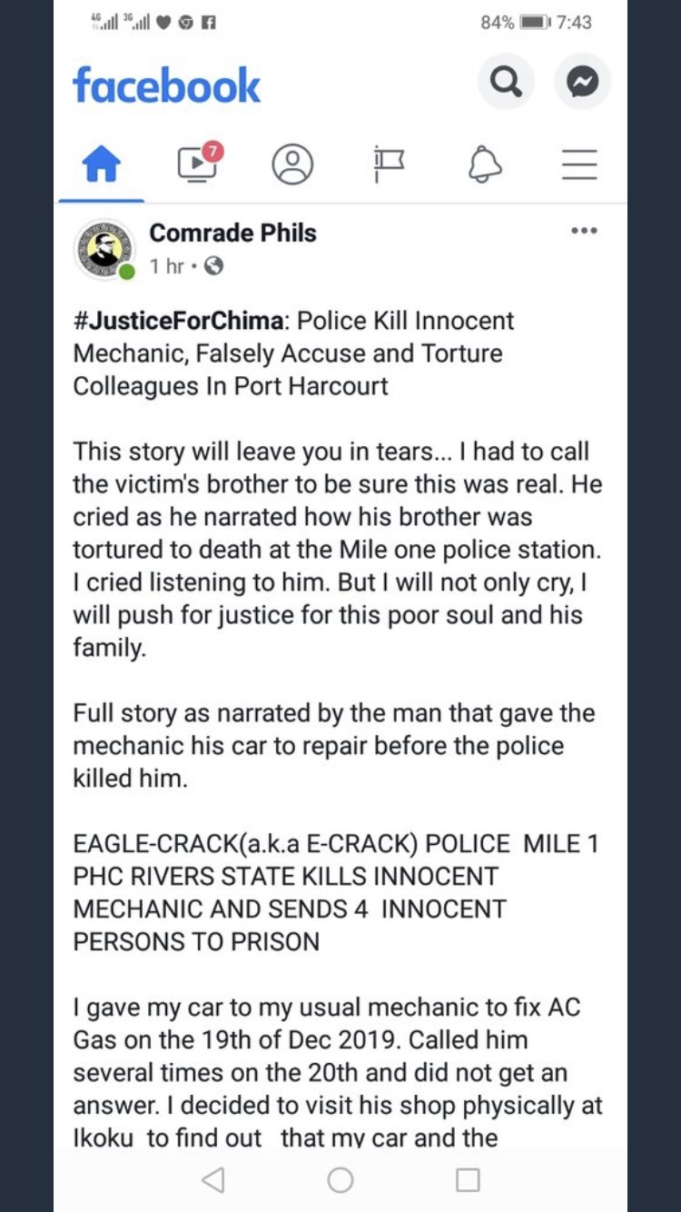 CHIMA Ikwunado allegedly Killed by Police in Port-Harcourt.