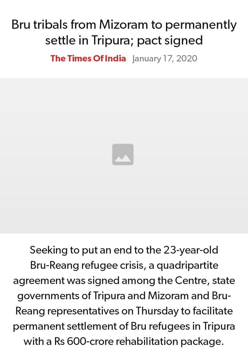 #MeraParivarBhajpaParivar #BarBarNamoNamoNamo #IndiaSupportCAA_NRC  Bru tribals from Mizoram to permanently settle in Tripura; pact signed https://timesofindia.indiatimes.com/india/bru-tribals-from-mizoram-to-permanently-settle-in-tripura-pact-signed/articleshow/73306927.cms…  via NaMo Apppic.twitter.com/OH4bKydZN6