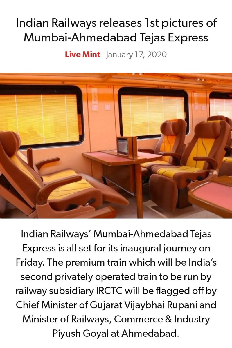 #MeraParivarBhajpaParivar #BarBarNamoNamoNamo #IndiaSupportCAA_NRC   Indian Railways releases 1st pictures of Mumbai-Ahmedabad Tejas Express https://www.livemint.com/news/india/indian-railways-releases-1st-pictures-of-mumbai-ahmedabad-tejas-express-see-photos-11579182779876.html…  via NaMo Apppic.twitter.com/MClQlG8pPc