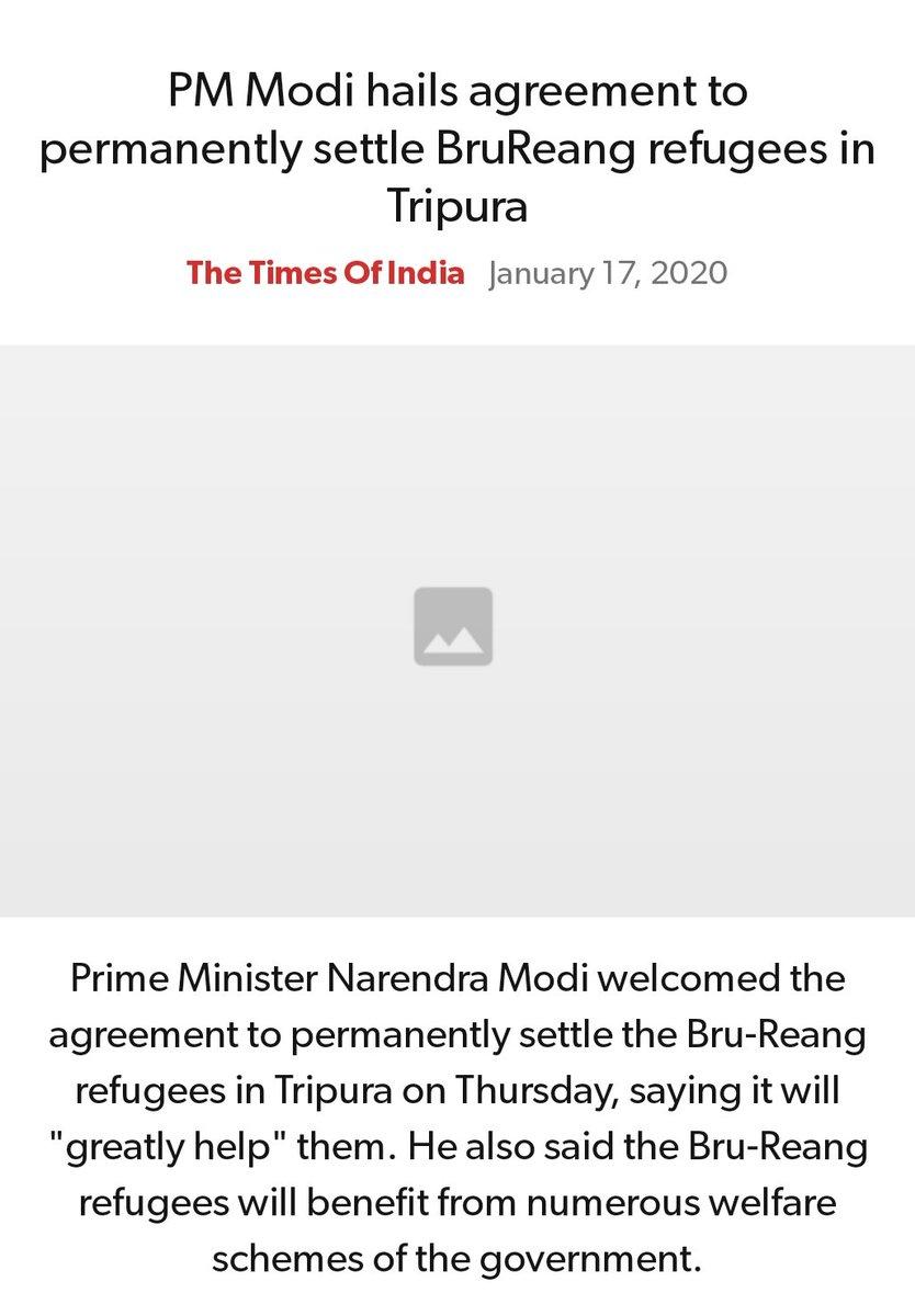 #MeraParivarBhajpaParivar #BarBarNamoNamoNamo #IndiaSupportCAA_NRC   PM Modi hails agreement to permanently settle BruReang refugees in Tripura https://timesofindia.indiatimes.com/india/pm-modi-hails-agreement-to-permanently-settle-bru-reang-refugees-in-tripura/articleshow/73308015.cms…  via NaMo Apppic.twitter.com/TuNROLJYZK