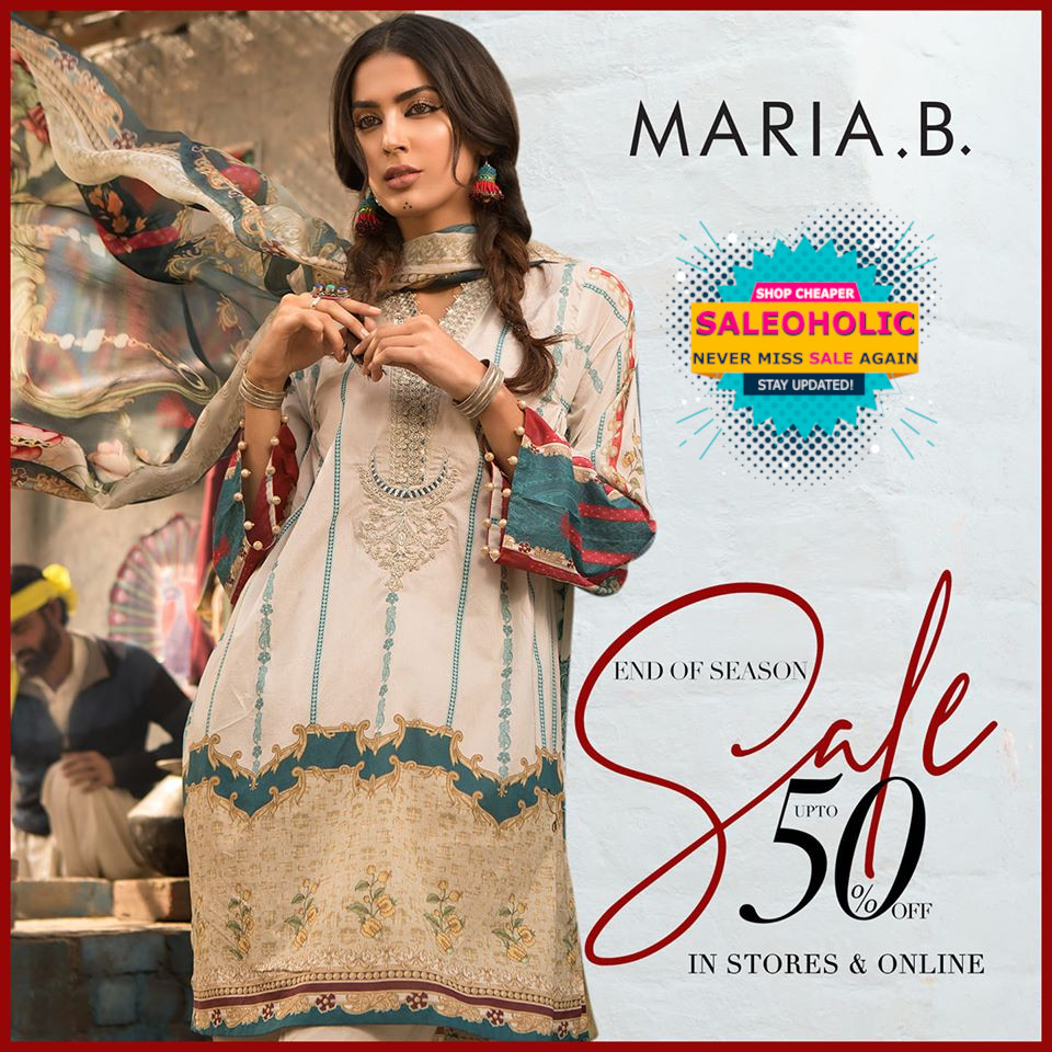 MARIA.B.'s End of Season Sale is now LIVE in stores & online! Discounts up to 50%! #mariab #saleoholic #saleoholicdiscount #saloholicupdate #summersale #shoppinglover #wintersale  #saleonNOW #brandedclothes #womenclothes #WomenClothingStore #womenshop #pret #readymade #tailored