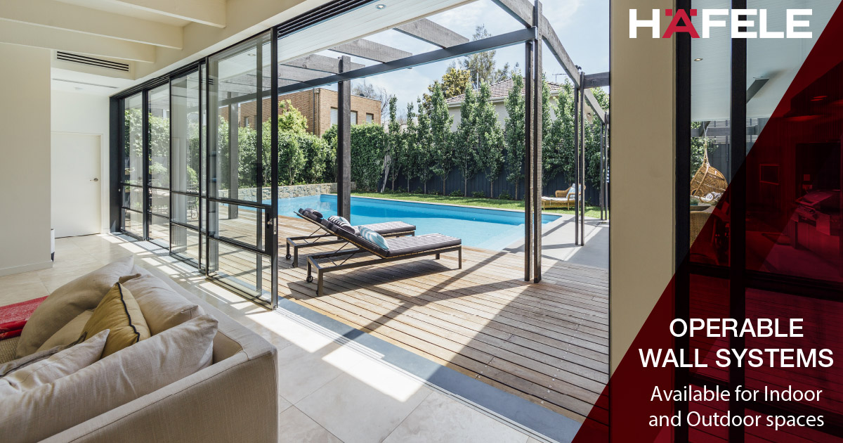 Connecting your outdoor area with your indoor area on those warm summer days has never been easier. Operable Wall Systems create a seamless connection between spaces whenever you need to open up your space. Contact us today for more information! http://www.hafele.com.aupic.twitter.com/kLWAoRQMoS