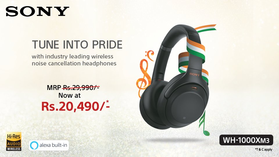 This #RepublicDay , here's an offer that no music lover can refuse. Avail great discount on the purchase of WH-1000XM3 #SonyHeadphones. Buy now: https://amzn.to/3791yiM