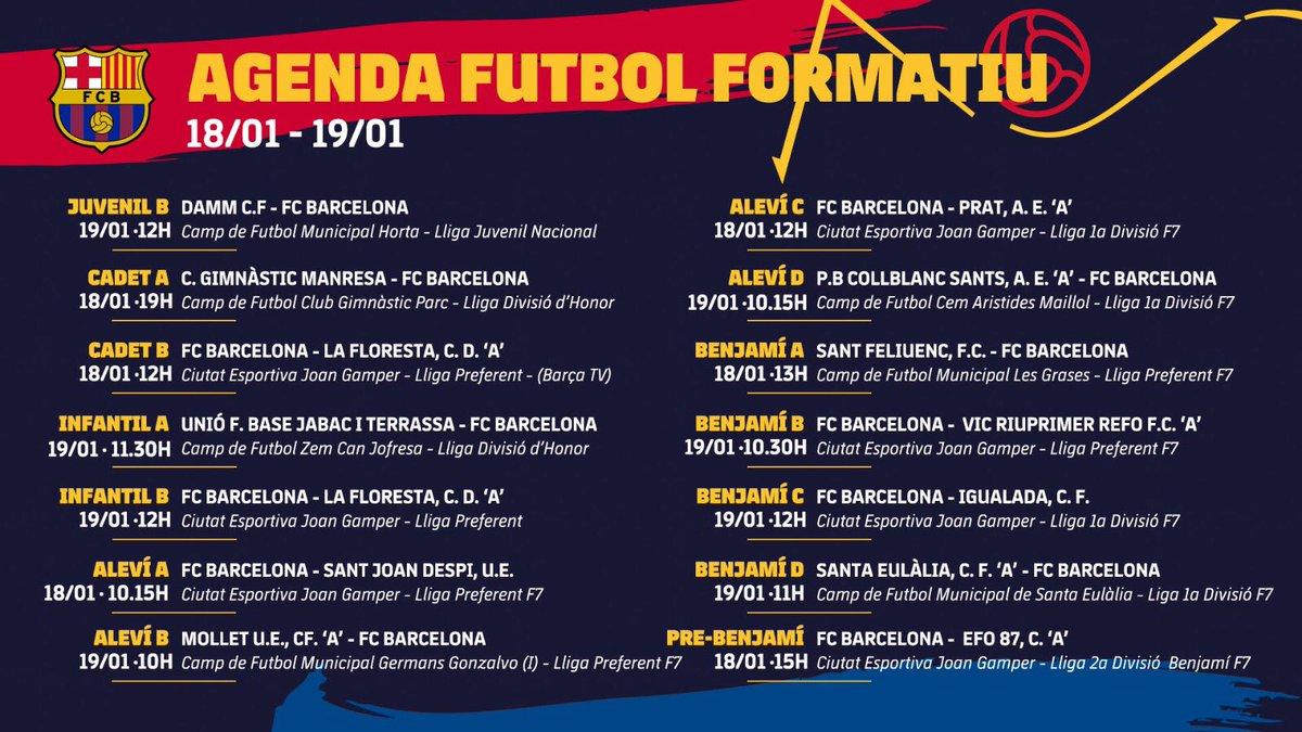 💪 No et perdis tots els horaris i rivals dels partits del cap de setmana  #FCBMasia #ForçaBarça 🔵🔴