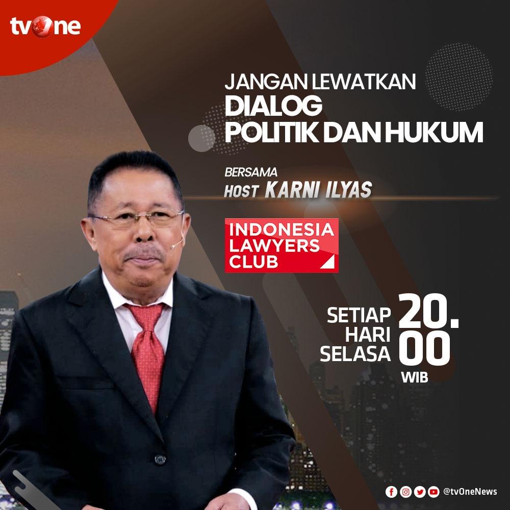 Jangan lewatkan program dialog Indonesia Lawyers Club bersama Karni Ilyas. Setiap Selasa jam 20.00 WIB hanya di tvOne & streaming tvOne Connect android http://bit.ly/2EMxVdm & ios http://apple.co/2CPK6U3. #ILCtvOnepic.twitter.com/ozvXwwlH7j