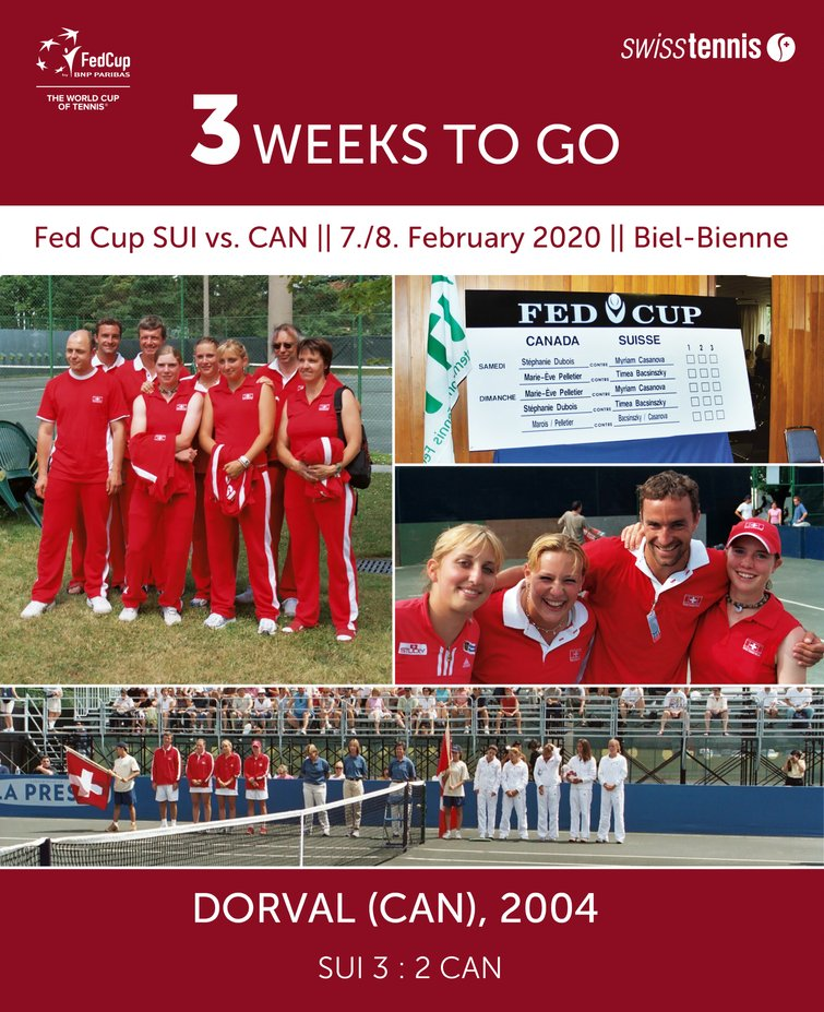 3 weeks to go until the 6th @FedCup between the teams of and  will start in @BielBienne_off. #Flashback to 2004 when the teams met last - with Switzerland winning. Will they repeat the win on 7/8 Feb 2020?  be there to #SupportTheSwiss http://swisstennis.ch/tickets pic.twitter.com/5jZS2bP5Kv