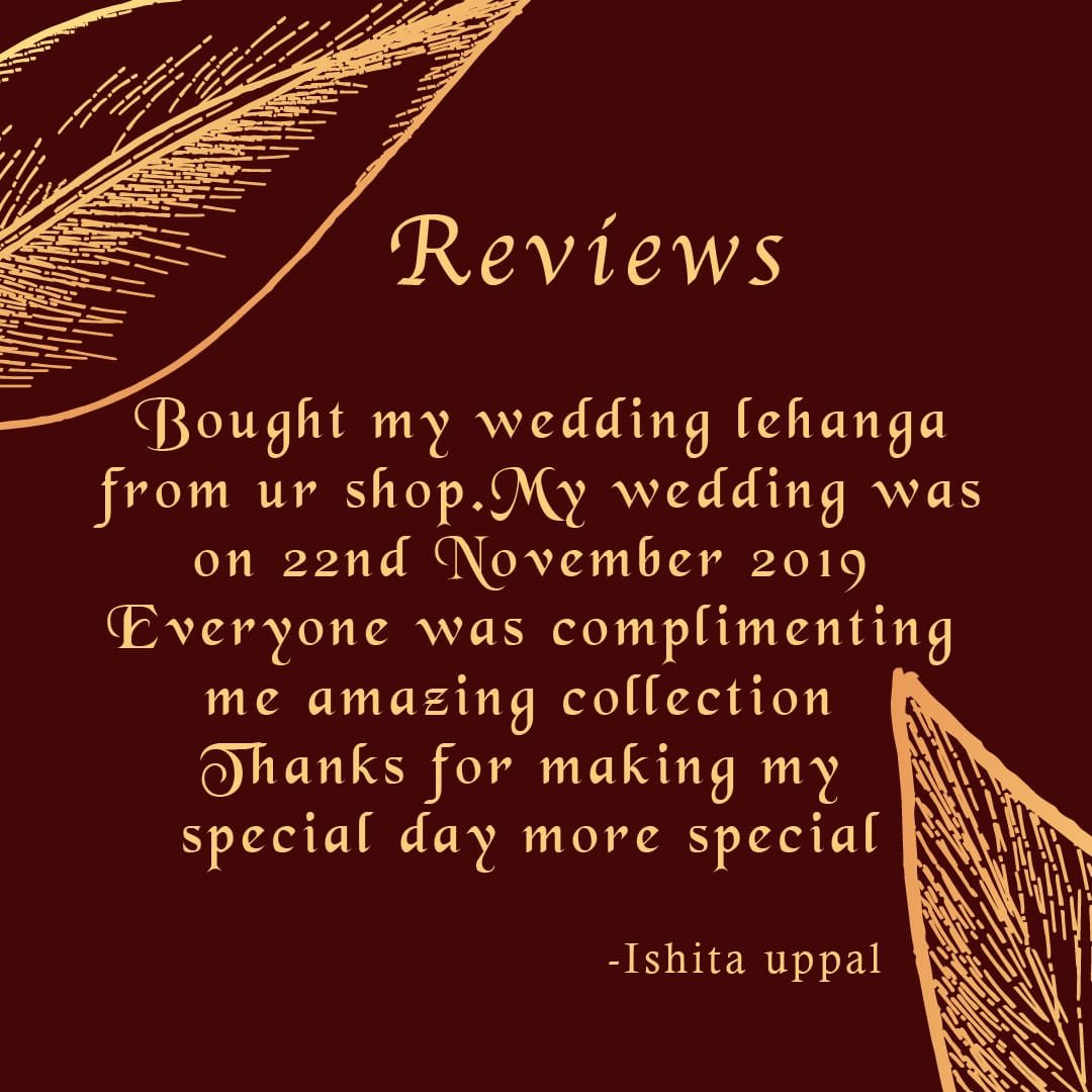 Thank you very much Ishita Uppal for your lovable and encouraging reviews #weddinglehanga #smile #hiched #weddingoutfit #lovely #happiness #weddingphotography #indianbride #shopping #thebridalparadise #bridaloutfit #weddingday #weddingdress #indianweddingattire #bridalwear pic.twitter.com/41BEIU8Jsl