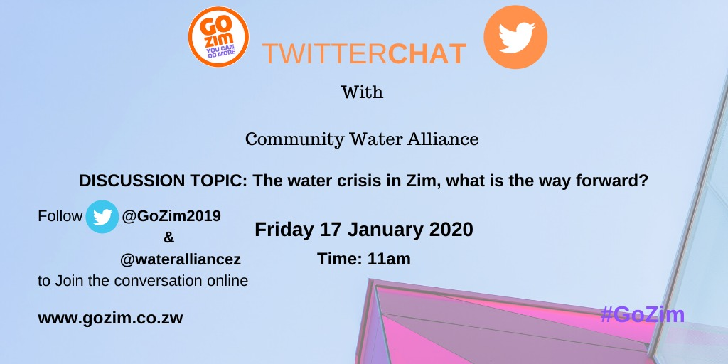 Welcome to our Twitter chat with @wateralliancez , join the conversation online #GoZim