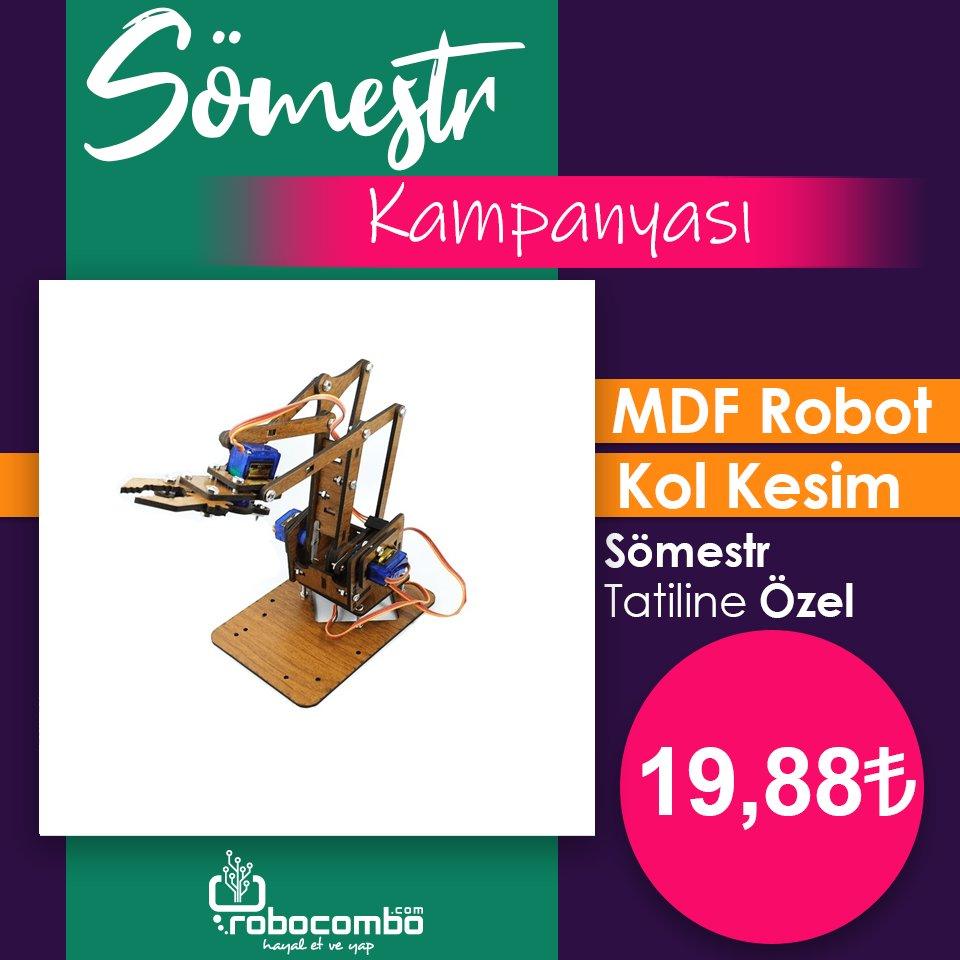 """EFSANE Üründe %46 İndirimli ÖZEL Fiyat """"MDF Robot Kol Kesim""""  Sömestr Özel Fiyatı ile http://Robocombo.com'da!  http://www.robocombo.com/mdf-robot-kol-kesimleri…  #karnehediyesi #karnegünü #mekatronik #maker #mekatronikmuhendisligi #arduino #robocombocom #hayaletveyap #robocombo #stem  #robot #roboticspic.twitter.com/b827IRKM9g"""