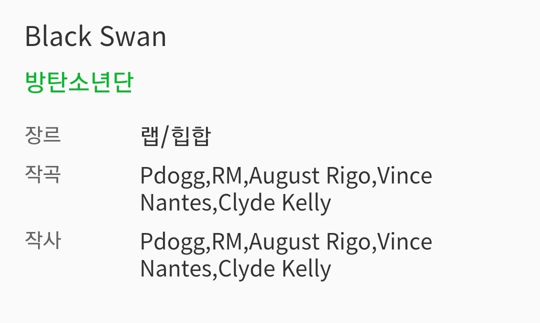 'Black Swan' by @BTS_twt Credits  Genre: Rap/Hip Hop  Composition: Pdogg, RM, August Rigo, Vince Nantes, Clyde Kelly  Lyrics: Pdogg, RM, August Rigo, Vince Nantes, Clyde Kelly  #BlackSwan #BlackSwanOutNow<br>http://pic.twitter.com/qCGecQdnJD