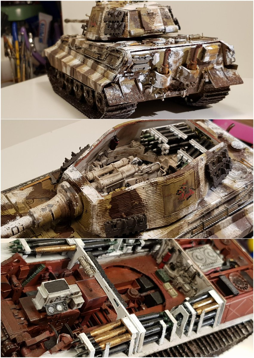 The Takom 1:35 King Tiger with full interiors. Painted in Panzer Abteilung 505 colors. White camo pattern made to look as if done on the field. Hand-painted. #tank #panzer #modelisimo #plasticmodels #hobbymodel #modelbuilding #tankmodel #SCALEMODELS #scalemodeling #miniaturepic.twitter.com/MzHqxusNhO