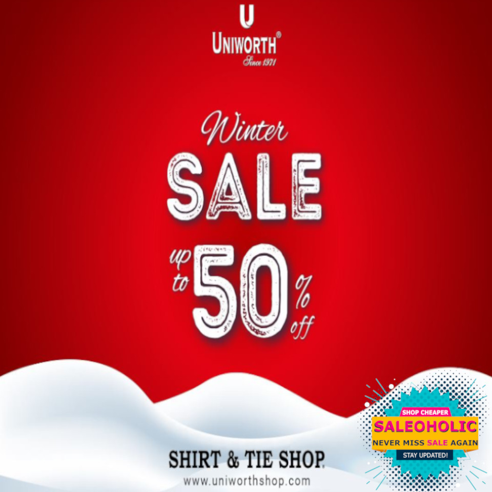 Uniworth's Winter Sale! End of season Sale is LIVE! Avail up to 50% off on entire range, in stores and online.  #sale #discount #shirtandtieshop #uniworth #saleoholic #saleoholicdiscount #saloholicupdate #summersale #shoppinglover #wintersale  #multan #saleonNOW #brandstore #bags
