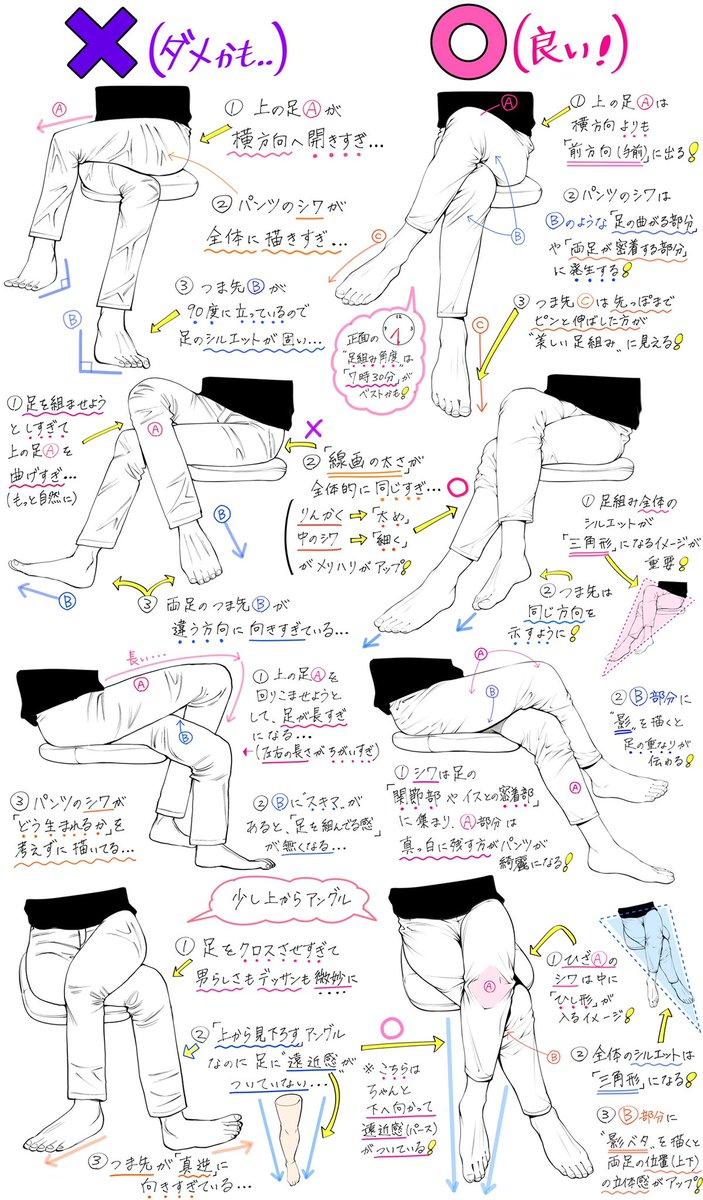 【足組みポーズの描き方】「男女の足組み」を綺麗に見せる「ダメかも❌」と「良いかも⭕️」
