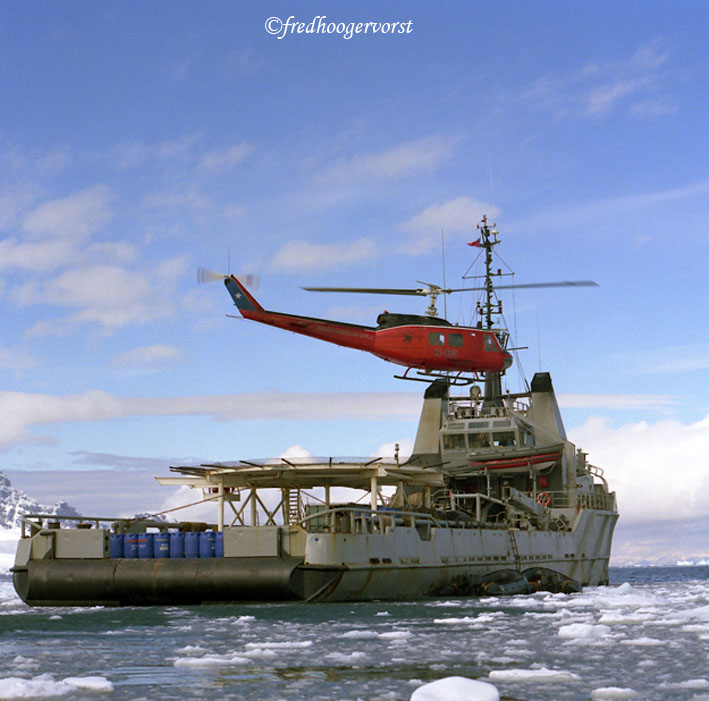#Antarctica, the #WhiteContinent , offloading with Chopper Fuel for #ResearchStations and #Aircrafts by #Icebreaker with #Helicopter landing platform on #Glacier. photo ©fredhoogervorst