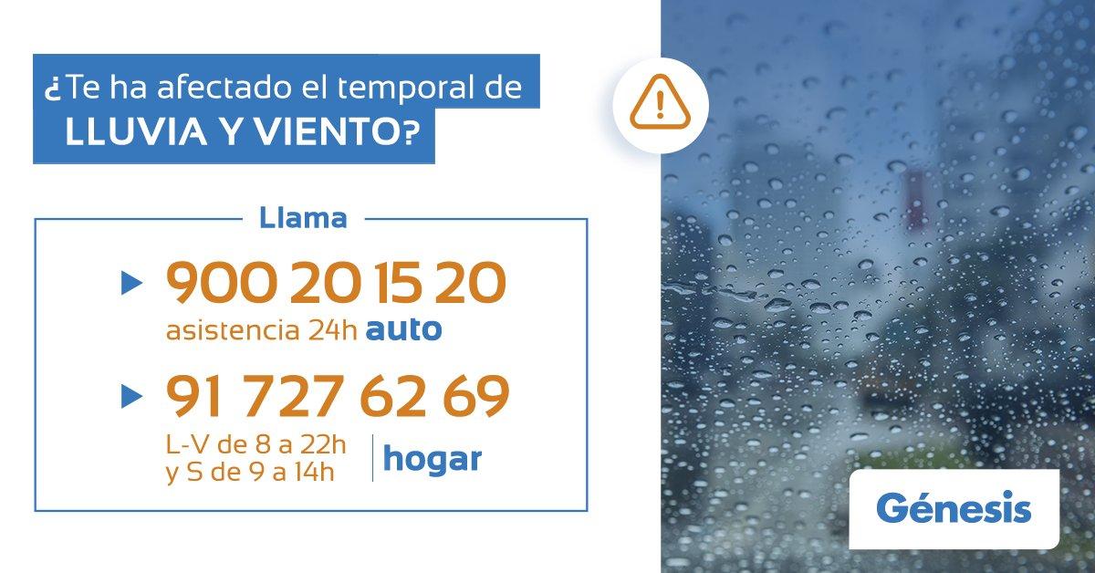 Si te ha afectado el temporal de lluvia y viento en Galicia, por favor, contacta con @Ayuda_Genesis o llama a nuestros teléfonos de asistencia. https://t.co/K8FnqiLRJL