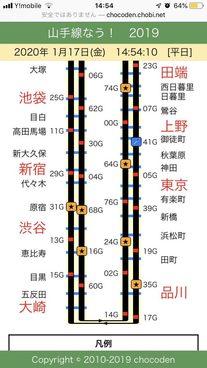 刀剣乱舞 山手線ジャック 攻略情報③刀剣乱舞の車両がどこを走っているかは、こちらでご確認下さい。山手線なう!私は東京駅での買い物が終わった10分後に車両が来たので、タイミング良かったです⭐️山手線は一周63分です。
