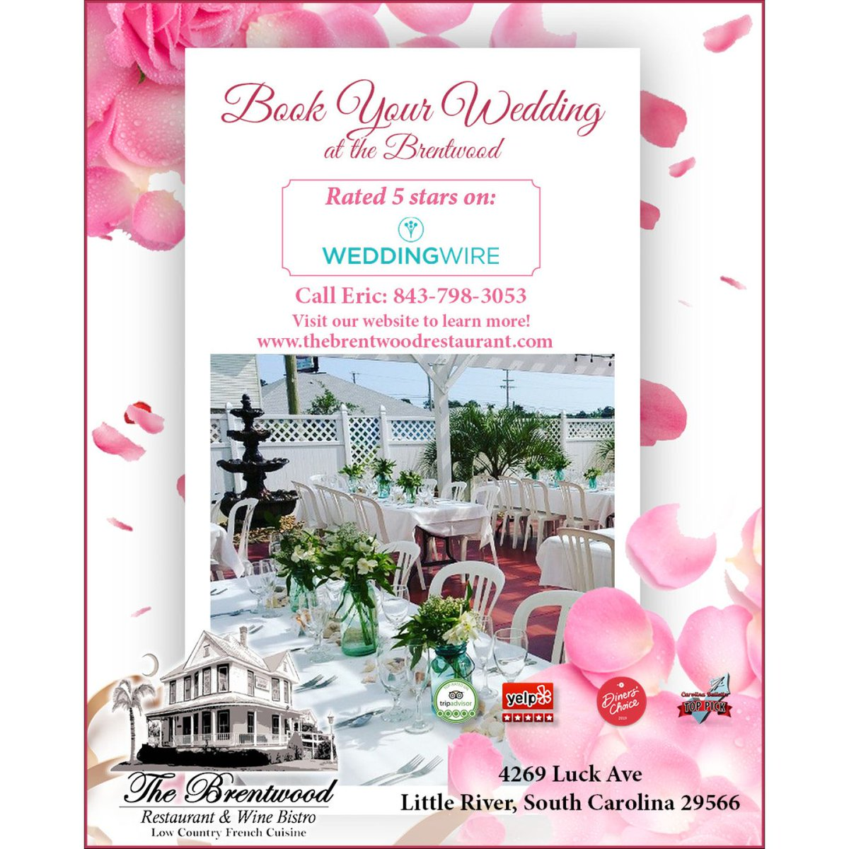 Book your #wedding at the historic @BrentWineBistro! Rated 5 stars on WeddingWire: https://buff.ly/2SAxj0J Call Eric: 843-798-3053 4269 Luck Ave, Little River, SC 29566 Visit the website to learn more: https://buff.ly/2K9NVVR  #weddingplanning #weddingvenue #grandstrand #SCpic.twitter.com/uzAwgvDtGB