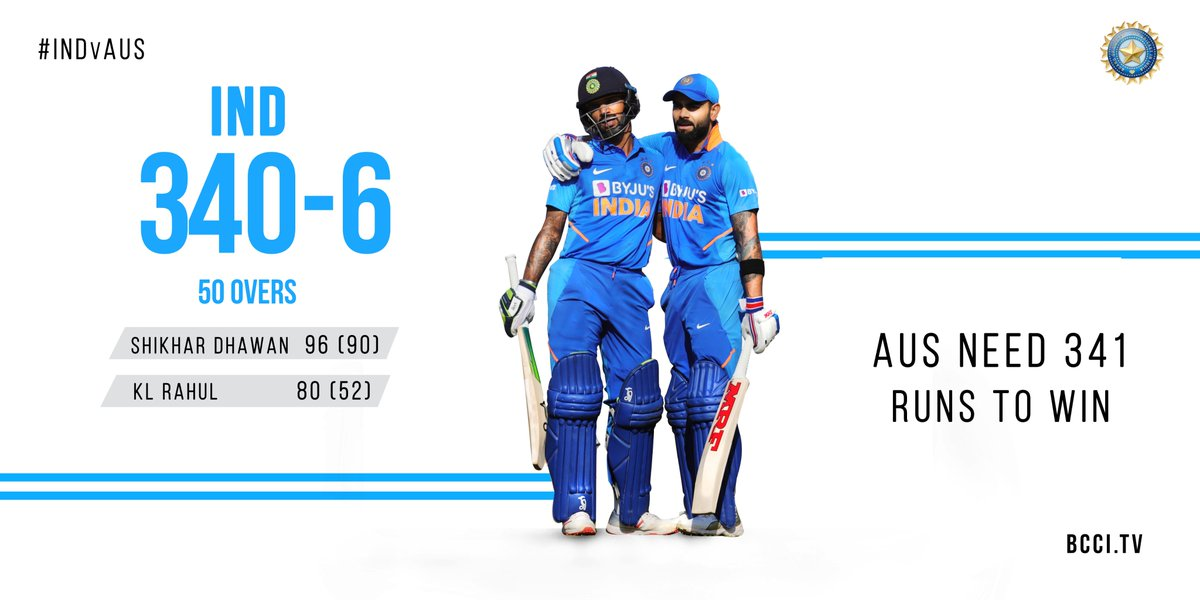 Innings Break! #TeamIndia post a formidable total of 340/6 (Dhawan 96, Kohli 78, Rahul 80) on the board. Over to the bowlers now. #INDvAUS