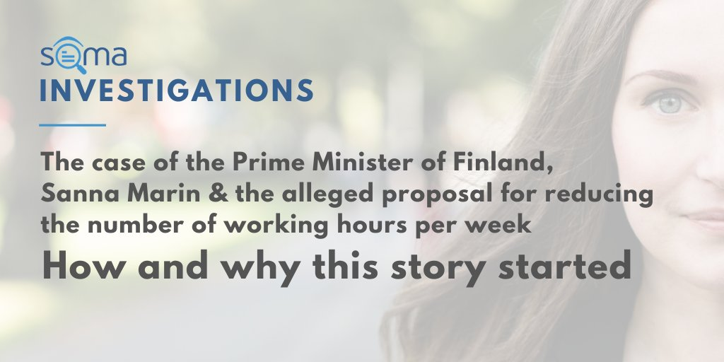 🔎 Thanks to @Faktabaari, @PagellaPolitica carried out an investigation on the misunderstanding about #Finland's Prime Minister Sanna Marin, who has been mentioned to propose a reduction of the working hours per week ➡️ bit.ly/SOMA-investiga… #SOMAObservatory