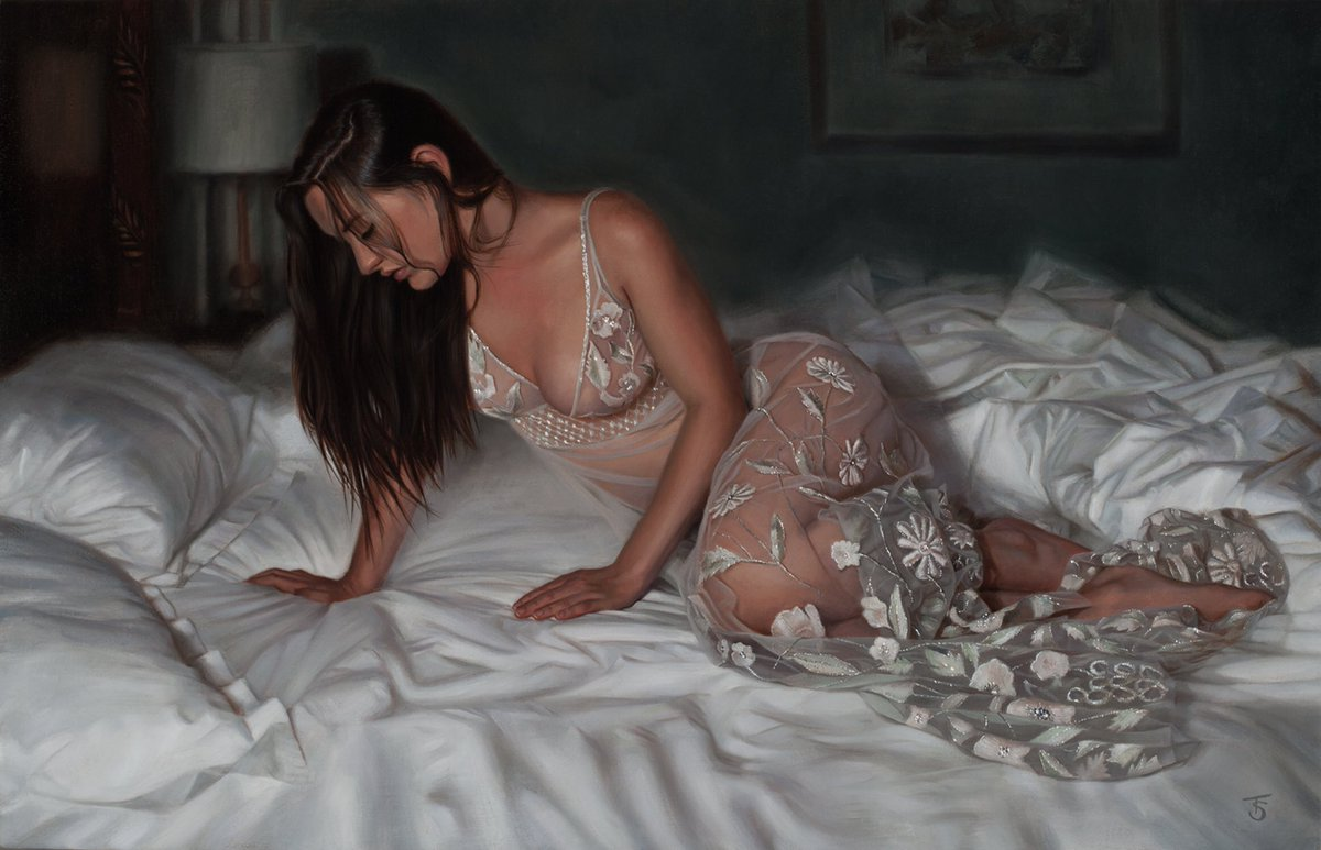 """Now in her forever home.....And I wait, 18""""x28"""", oil on linen,   Thanks @haynesfineart #tinaspratt #artcollector #femalefigure #oilpainting #realism #sheer #coutureart #lovemyjob pic.twitter.com/9vSmRqOMMR"""