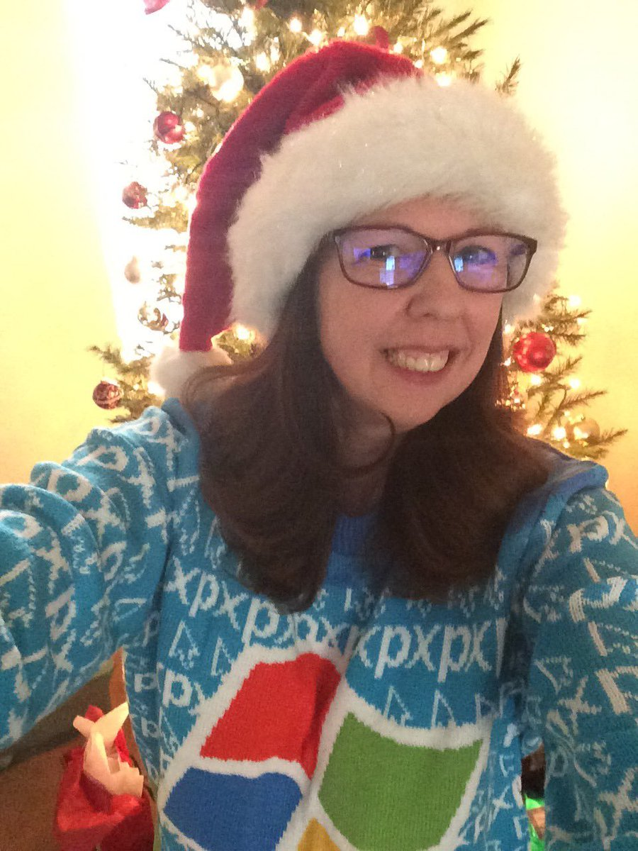 Prepping a presentation to share with our instructional coaches later this month and in about 15 minutes, I'm teaching a group of 4th graders how to use the new tools! #LoveMyJob #MIETrainer #MIEExpert (side note: Wearing my #WindowsUglySweater as I present! minus the Santa hat)pic.twitter.com/1elHlocgvq