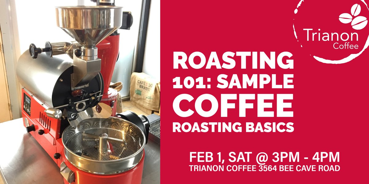 Sign up for our next roasting class Sat, Feb 1 at 3pm. Spots fill fast! $20 includes 1hr class + 1/2lb coffee roasted during class to take home. Register: https://www.trianoncoffee.com/blogs/news/register-coffee-roasting-101-workshop… #coffeeworkshop #coffeeroasting #coffeeeducation #atxevents #austinevents #austinfood #atxfoodie pic.twitter.com/G4HQ8DMHum