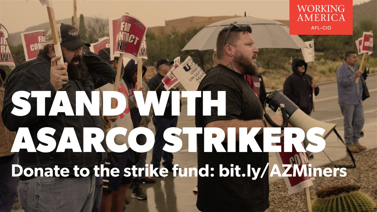 📢STRIKE ALERT📢 Miners in AZ have been on strike for almost 100 days to fight back against the corporate greed threatening their families. Donate to the strike fund here: bit.ly/AZMiners @ArizonaAFLCIO @AFLCIO #1u