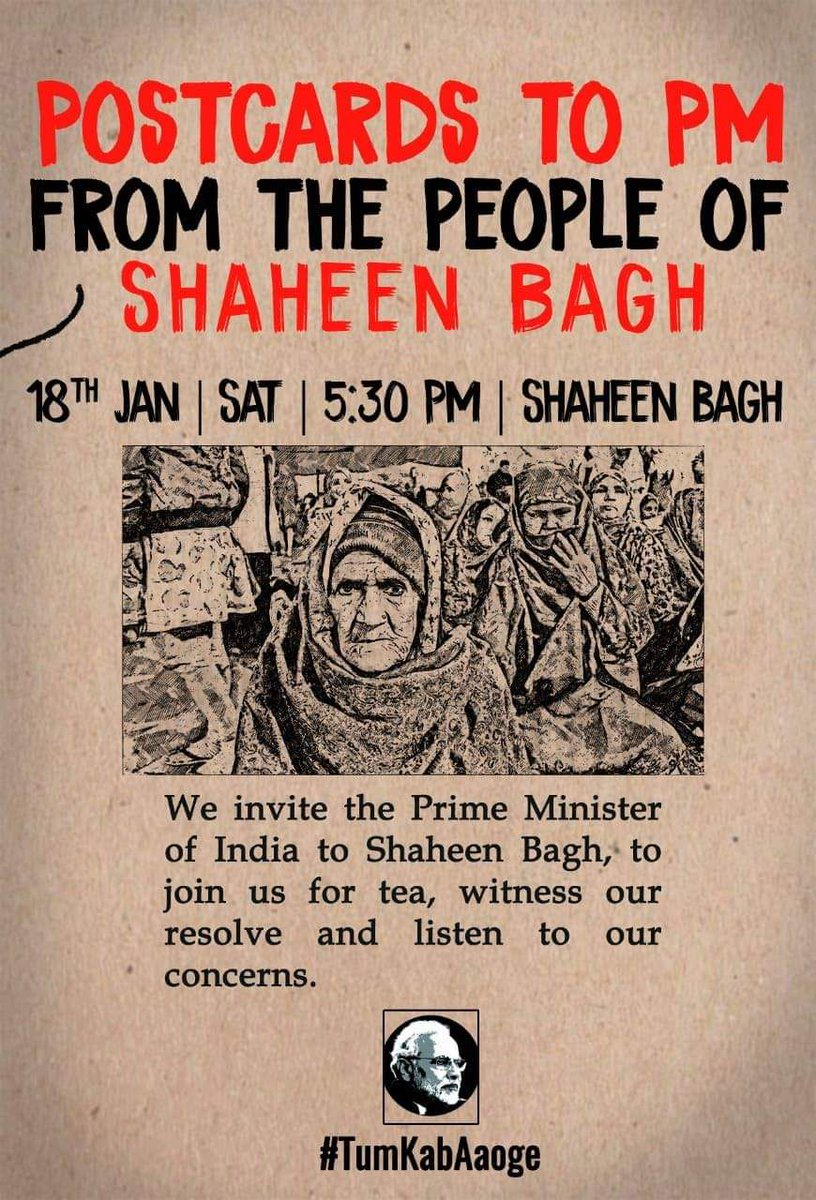 "Dear Beloved PM Modi you are cordially Invited for ""चाय पर चर्चा"".जलूल जलूल आईयेगा!!!WBCF#ShaheenBagh#ShaheenBaghProtests#TumKabAaoge"