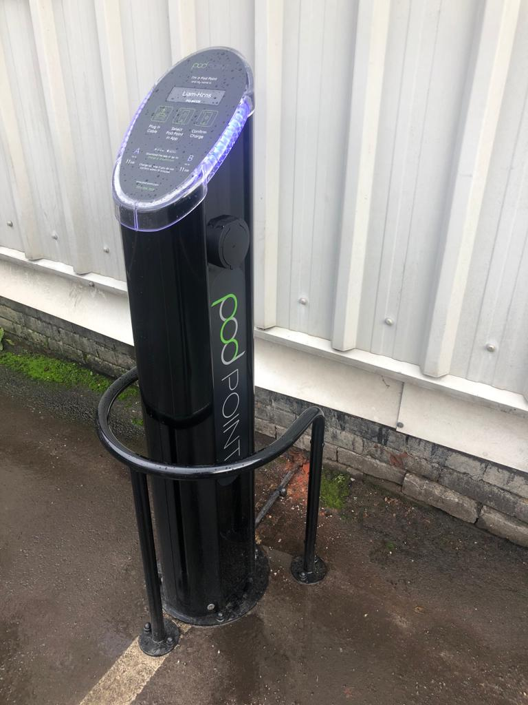 Our Electric Charger pod has arrived. Meet Liam-Hans who's able to charge two cars at a time!