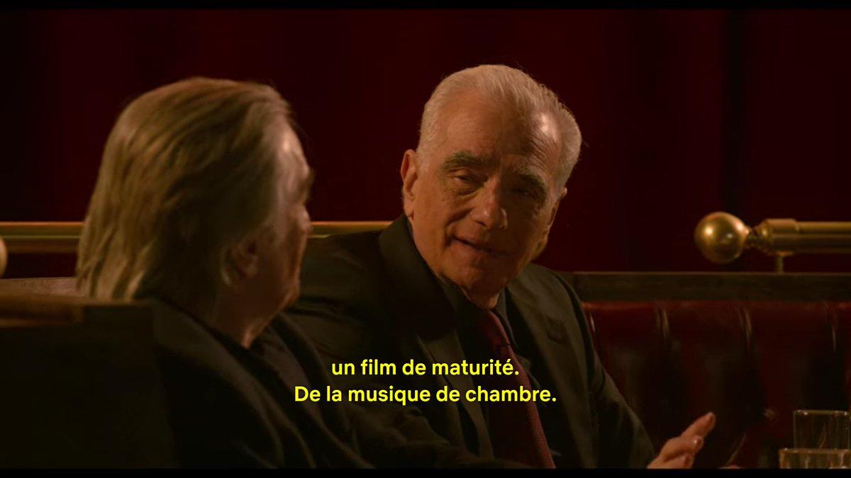 """""""C'est un film contemplatif, un film de maturité. De la musique de chambre. Il devait se dérouler au rythme de ce qu'on ressent aujourd'hui, en pensant au passé"""". Martin Scorsese, #TheIrishman  #scorsese #martinscorsesepic.twitter.com/W9mSWBw9iv"""