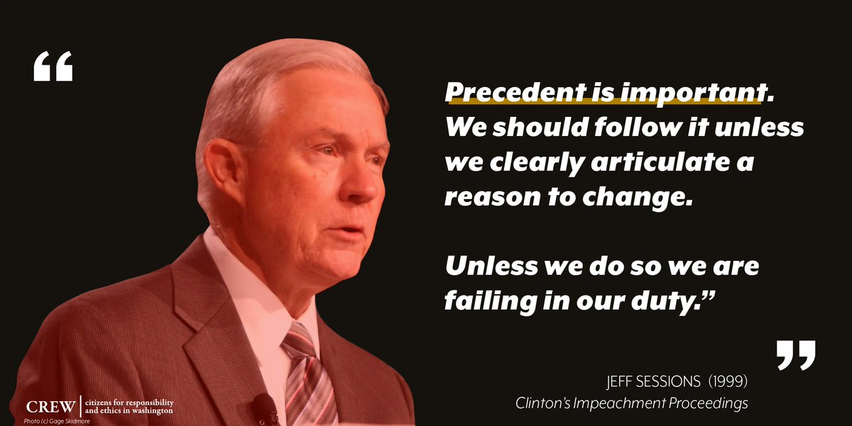 Jeff Sessions is right: precedent is important. If senators refuse to call witnesses for President Trump's impeachment trial, they will be going against 231 years of established Senate precedent and abdicating their responsibility to conduct a fair trial. <br>http://pic.twitter.com/LhwubJvpDK