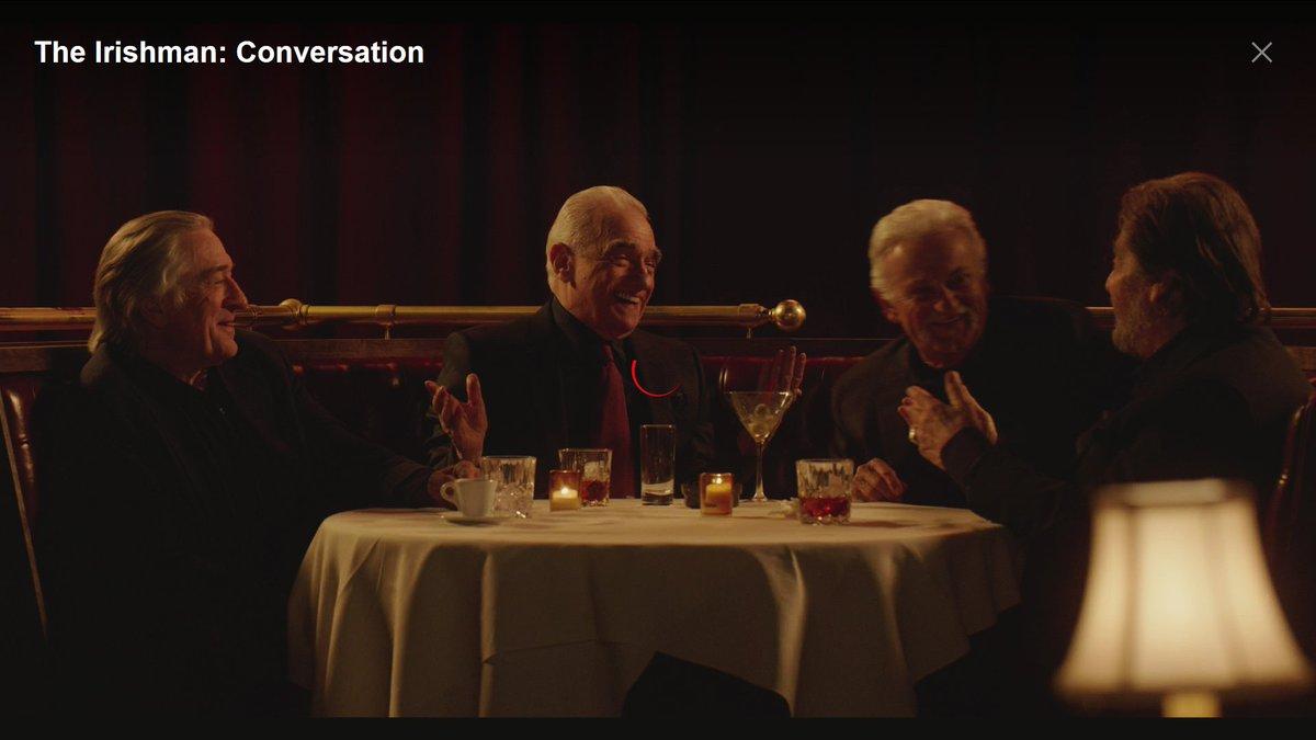 Oui. The Irishman Conversation. 23 min. Martin Scorsese, Robert De Niro, Al Pacino, Joe Pesci. https://www.netflix.com/title/81212801 #TheIrishman #martinscorsese #Oscars2020pic.twitter.com/oHuNmeGpkb