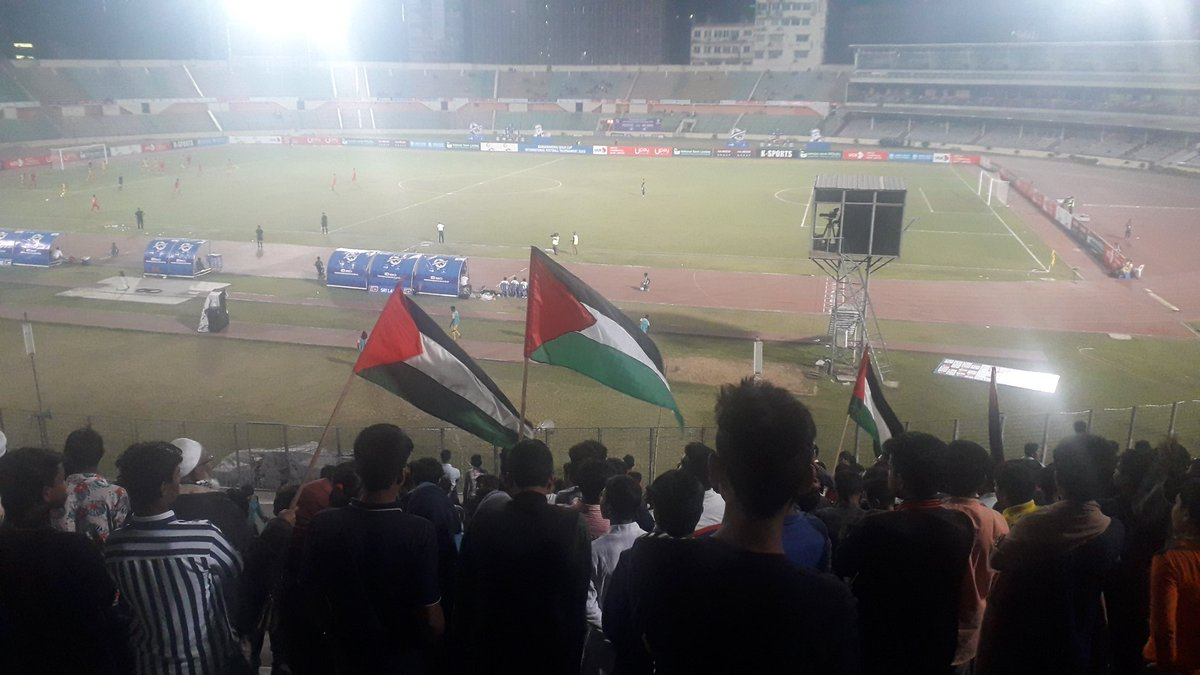 Palestine v Sri Lanka in Dhaka, Bangladesh. Stadium livened up when Palestine fans showed up pic.twitter.com/0R1a72XWzQ